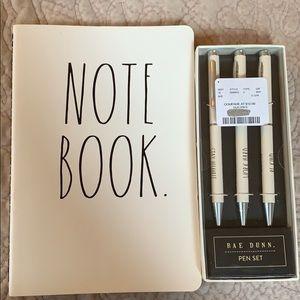 NWOT Rae Dunn notebook and 3 pen set